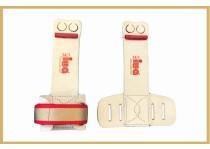 IWA Stufenbarren Handschutz 2 Loch rot/gold/rot IWA-Gurtband