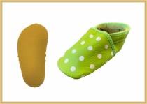 Krabbelschuhe Punkte apfelgrün
