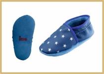 Krabbelschuhe Sterne kornblau