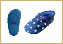 Krabbelschuhe Punkte kornblau