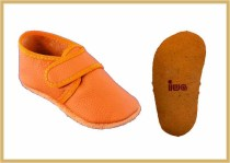Krabbelschuhe Klettverschluss uni orange