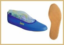 Gymnastikschuh Leder farbig kornblau